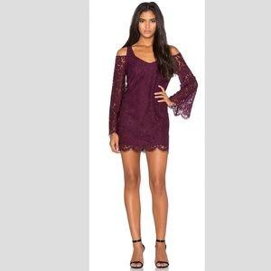 Chaser Purple Lace Cold Shoulder Mini Dress